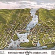 Antique Map Of Mystic Connecticut Art Print