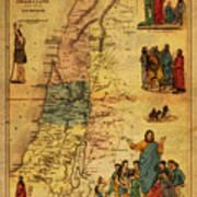 Antique Map Of Palestine 1856 On Worn Parchment Art Print