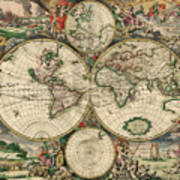 Antique Map Of The World - 1689 Art Print