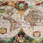 Antique Map Of The World - Double Hemisphere Art Print