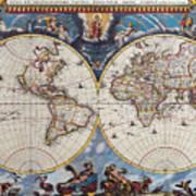 Antique Maps Of The World Joan Blaeu C 1662 Art Print