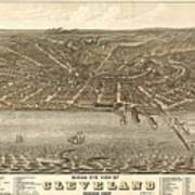 Antique Maps - Old Cartographic Maps - Antique Birds Eye View Map Of Cleveland, Ohio, 1877 Art Print