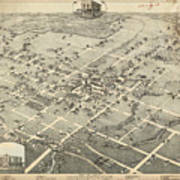 Antique Maps - Old Cartographic Maps - Antique Birds Eye View Map Of Denton, Texas, 1883 Art Print