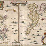 Antique Maps - Old Cartographic Maps - Antique Map Of Schetland And Orkney Islands - Scotland,1654 Art Print
