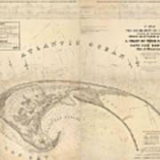 Antique Maps - Old Cartographic Maps - Antique Map Of Cape Cod, Massachusetts, 1836 Art Print