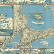 Antique Maps - Old Cartographic Maps - Antique Map Of Cape Cod, Massachusetts, 1945 Art Print