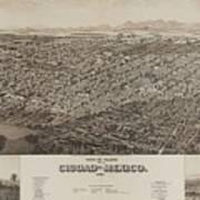Antique Maps - Old Cartographic Maps - Antique Map Of Ciudad, Mexico, 1890 Art Print
