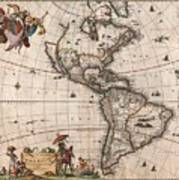 Antique Maps - Old Cartographic maps - Antique Map of North and South America, 1658 Art Print