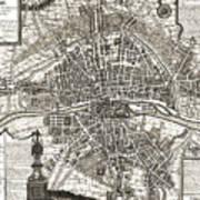 Antique Maps - Old Cartographic Maps - Antique Map Of Paris, France, 1643 Art Print