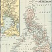 Antique Maps - Old Cartographic Maps - Antique Map Of Philippine Islands And Manila Bay, 1898 Art Print