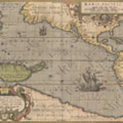 Antique Maps - Old Cartographic Maps - Antique Map Of The Pacific Ocean - Mar Del Zur, 1589 Art Print