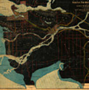 Antique Maps - Old Cartographic Maps - Antique Map Of Vancouver, New Westminster, Steveston Art Print