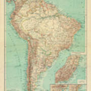 Antique Maps - Old Cartographic Maps - Antique Russian Map Of South America Art Print