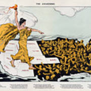Antique Map Of The United States Of America - The Spirit Of Liberty - The Awakening, 1915 Art Print
