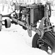 Antique Steel Wheel Tractor Black And White Art Print