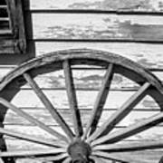Antique Wagon Wheel In Black And White Art Print