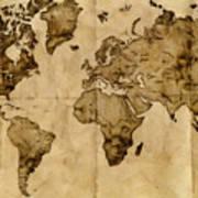 Antique World Map Print by Radu Aldea