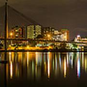 Anzac Bridge By Night Art Print