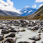 Aoraki Mount Cook Hooker Valley Southern Alps Nz Art Print