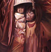 Apache Girl And Papoose Art Print