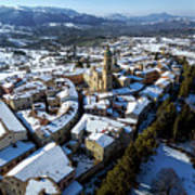 Apiro Italy In The Snow - Aerial Image. Art Print
