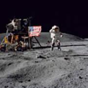 Apollo 16 Astronaut Leaps Art Print by Stocktrek Images