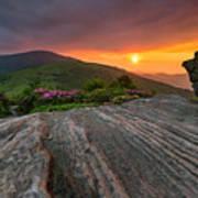 Appalachian Trail Roan Highlands Jane Bald Sunset Landscape Art Print