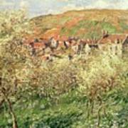 Apple Trees In Blossom Art Print by Claude Monet