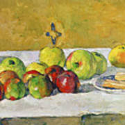 Apples And Biscuits Print by Paul Cezanne