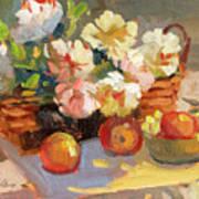 Apples And Peonies Art Print