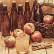Apples Cider By Wicker Basket On Wooden Table Art Print