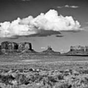 Approaching Monument Valley Black And White Art Print