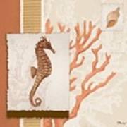 Aquarius II Coral Square Art Print