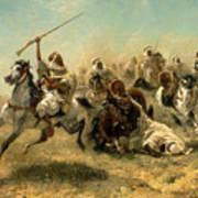 Arab Horsemen On The Attack Art Print by Adolf Schreyer