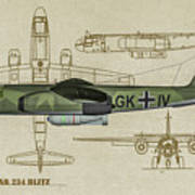 Arado Ar234b-2 - Profile Art Art Print