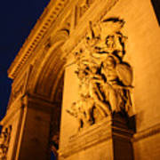 Arc De Triomphe At Night Art Print