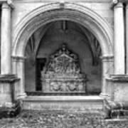 Arch At Fontevraud Abbey Bw Art Print
