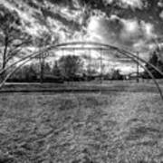 Arch Swing Set In The Park 76 In Black And White Art Print