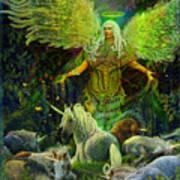 Archangel Raphael Protector Of Unicorns Art Print