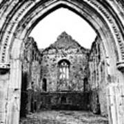 Athassel Priory Tipperary Ireland Medieval Ruins Decorative Arched Doorway Into Great Hall Bw Art Print