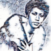 Aretha Franklin Portrait In Blue Art Print