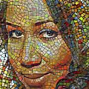Aretha Franklin Tribute Mosaic Portrait 2 Art Print