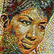 Aretha Franklin Tribute Mosaic Portrait 3 Art Print