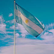 Argentinian Flag In Central Park In Bariloche-argentina  Art Print