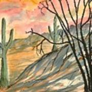 Arizona Evening Southwestern Landscape Painting Poster Print  Art Print