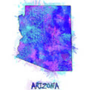 Arizona Map Watercolor 2 Art Print