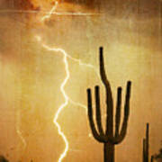 Arizona Saguaro Lightning Strike Poster Print Art Print
