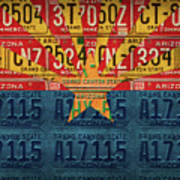 Arizona State Flag Vintage License Plate Art Art Print