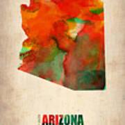 Arizona Watercolor Map Art Print
