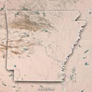 Arkansas State Usa 3d Render Topographic Map Neutral Border Art Print